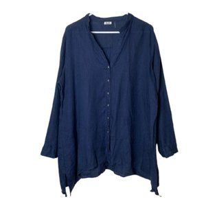 Symple NYC blue 100% linen tunic button up XL